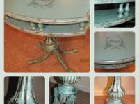 $125 ~ Deep Turquoise Paris Table - Painted with Heavy