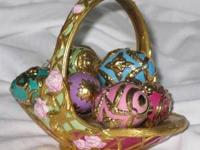 Faberge Summer Egg Basket Franklin Mint 9 eggs of fine