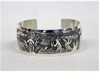 Navajo Sterling Silver Storyteller Bracelet by artist