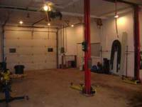 Single Bay shop, Lift Air hose reals, parts washer,
