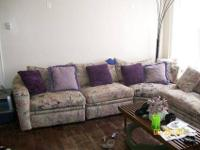 Mauve, purple and black design sectional couch with