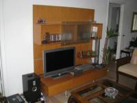 solid wood entertainment center with loads of storage 2
