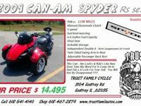 2009 Can Am Spyder Rs Se5 LOW MILES Are You Ready For