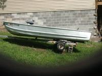 14' v bow aluminum boat 3 seats 4' beam. Older boat