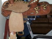 "14"" leather Barrel Saddle. Has Cross cut out with"