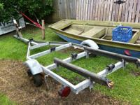 NO PAPERS NEEDS WORK   14' x 4.5' Flat Boat & Trailer