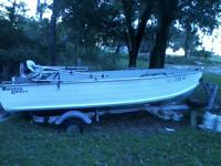 1985  14 ft  smoker craft aluminum V hull boat, with