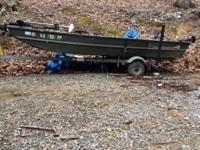 14' alumcraft Jon boat with trailer. Throwing in a 7hp
