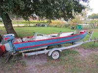 14' JON BOAT V HAUL 2' DEEP, WITH TRAILER AND TITLE