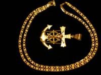 14 kt two tone mariner chain length 23 1/2 inch width