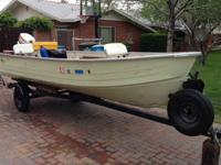 14' v-hall Mirro Craft boat, 25 horse motor and