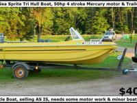 14' Sea Sprite Tri Hull Boat, 50 H.P. 4 Stroke Mercury