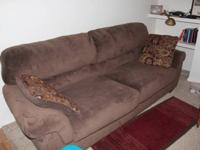Dark brown, super comfortable microfiber couch with