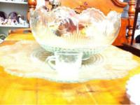 "Vintage Glass Punch Bowl Set has a 23"" diameter base"
