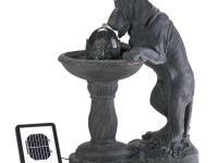 Description Whimsical faux-bronze fountain depicts a