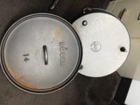 BRAND NEW NEVER USED #14 LODGE 10 QUART DUTCH OVEN.