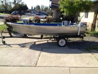 14 foot gregor  welded aluminum fishing boat lots of