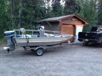 14 ft smokercraft with a 35 hp evinrude, runs great fun