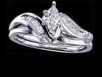 14k white gold wedding set with .29 carat total diamond