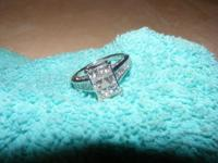 14 k white gold pricness cut diamond ring 2-ctw one and