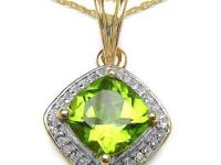 14K Yellow Gold Plated 2.31 Carat Genuine Peridot .925