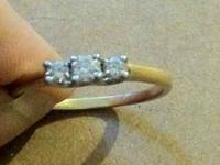 14k gold platnum, 3 diamond ring - size 8 1/2 ~ $300
