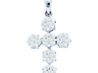 14KT White Gold ROUND DIAMOND LADIES CROSS PENDANT -Get
