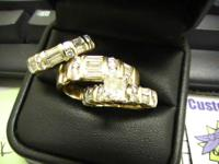Over 7 carats total of diamonds. Lady's princess cut