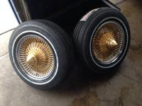 Gold Spokes with chrome rim. All rims hold air. Tires