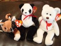 3 RETIRED BEANIE BABIES-VALENTINO BEAR, FORTUNE PANDA,