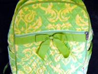lime green & yellow backpack with zippered straps plus