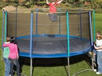 The Pure Fun 15' trampoline and enclosure set ensures