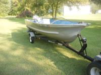 15 foot Meyers aluminum boat with steering wheel has