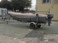 15 foot Gregor aluminum fishing boat with seabird