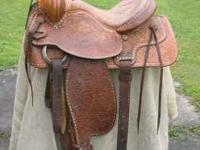 15 inch Hereford saddle 1970's era. great shape semi QH