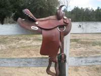 15' leather rounded skirt barrel saddle, light weight,