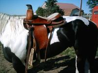 "The saddle has a wood tree. The seat is a 15"". Full qh"