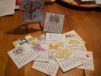 2 sets of hand crafted Calendars that stand in mini CD