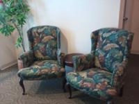Pair Of Earth Tone Stripped Wing Back Chairs And One Foot
