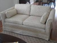 Custom made two (2) cushion love seat from Ethan Allen.