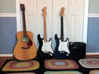 The 3 guitars are a Fender Squier, Behringer, and