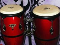 These Congas are a beautiful deep red, Adjustable Stand