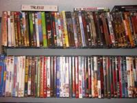 Over 1500 DVDs in cases. Too many to list. Call  to set