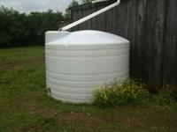 "1500 gallon plastic water tank with 2"" ball valve. Good"