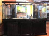 150 Gallon Fish aquarium with cabinet, tank meaures 72