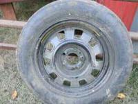 1- 155/R15 temporary tire on 5 hole steel rim never