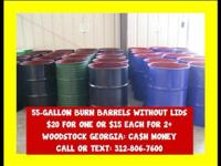 We have many open top steel metal barrels Great for