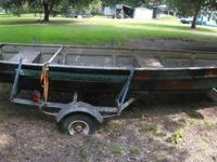 15FT Jon boat with trailer, overall the boat is in