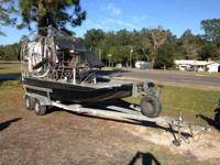 Nice 16 foot fiberglass airboat with stainless steel