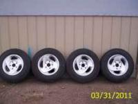 Stock rims/tires 225/75/16 with 50% tread give or take,